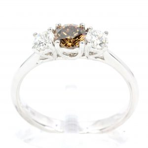 Chocolate Diamond Ring with Diamonds set in 18ct White Gold