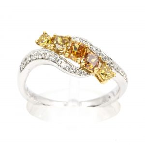 Princess Cut Yellow/Orange Diamonds Ring
