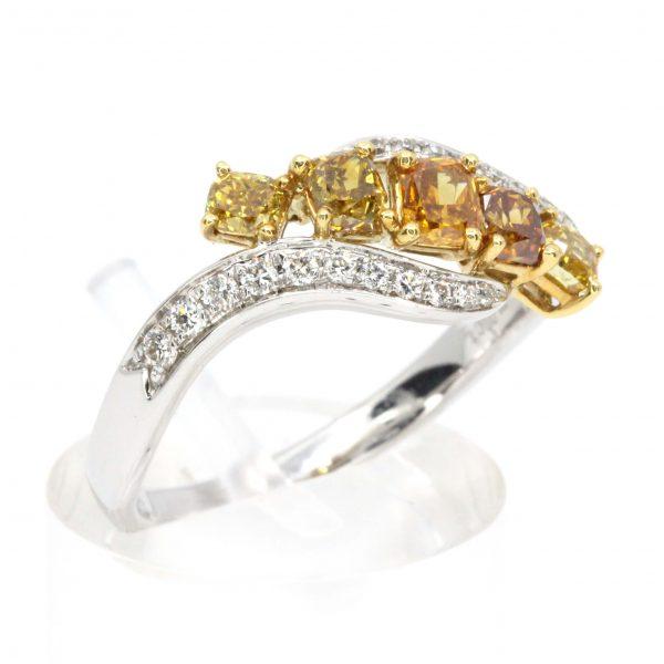 Princess Cut Yellow/Orange Diamonds Ring