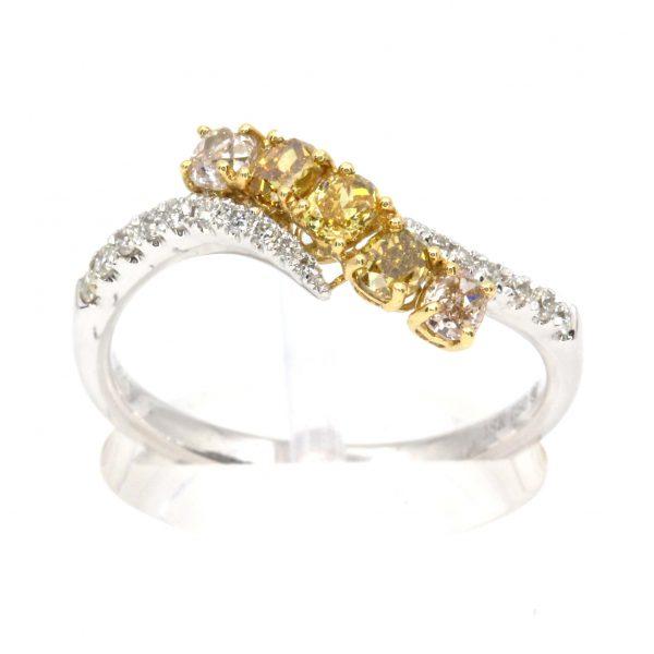 Yellow/Pink Diamond Triliogy Ring
