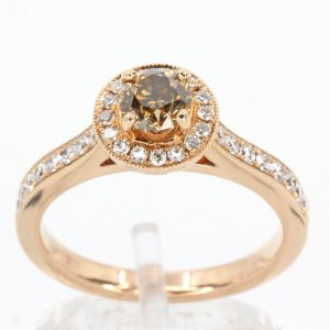 Round Brilliant Cut Chocolate Diamond Ring Halo