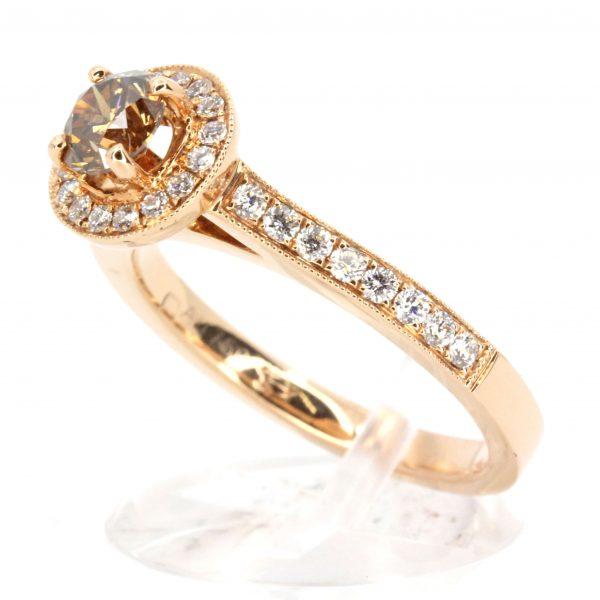 Round Brilliant Cut Chocolate Diamond Ring Halo
