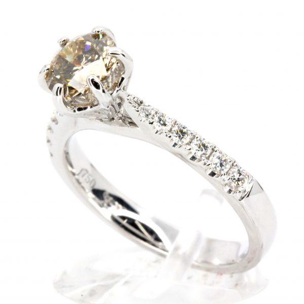Round Brilliant Cut Chocolate Diamond Ring White Gold