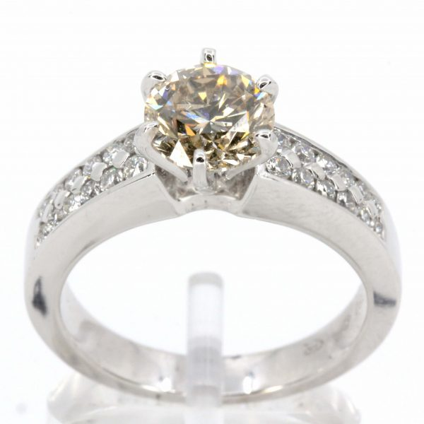Round Brilliant Cut Chocolate Diamond Ring White Gold
