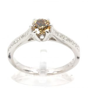 Round Brilliant Cut Chocolate Diamond Ring