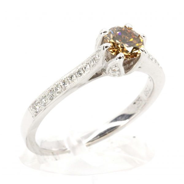 Round Brilliant Cut Chocolate Diamond Ring