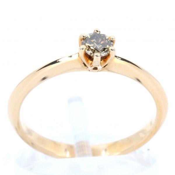 Round Brilliant Cut Chocolate Diamond Ring set in 18ct Rose Gold