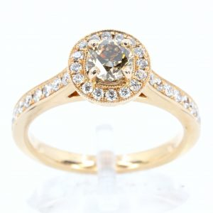 Round Brilliant Cut Chocolate Diamond Ring Rose Gold