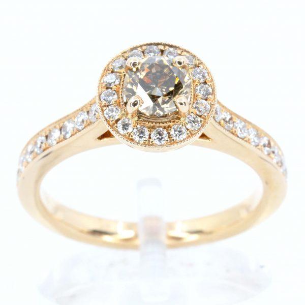 Round Brilliant Cut Chocolate Diamond Ring Rose Gold