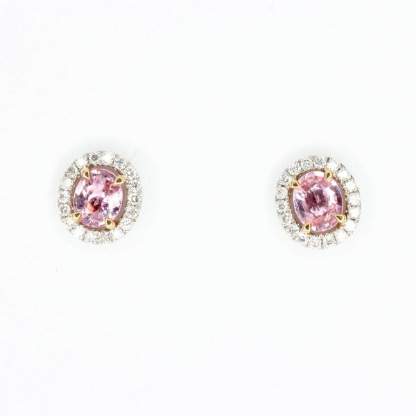 Oval Pink Sapphire Earrings with Halo of Diamond set in 18ct White Gold & Yellow Gold