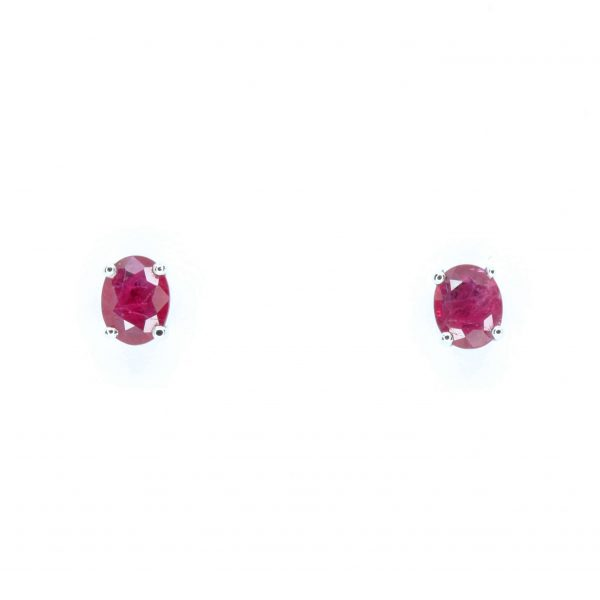 Oval Ruby Earrings set in 14ct White Gold