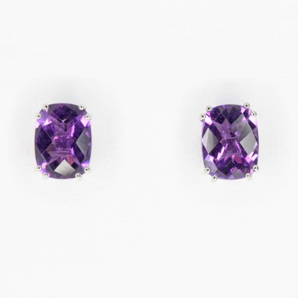 Checkered Cushion Cut Amethyst Studs set in 18ct White Gold