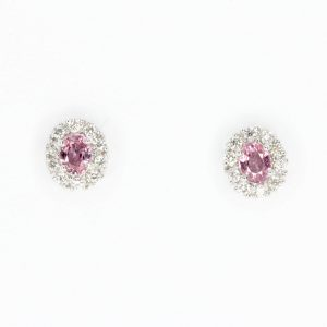 Oval Pink Sapphire Earrings with Halo of Diamond set in 18ct White Gold
