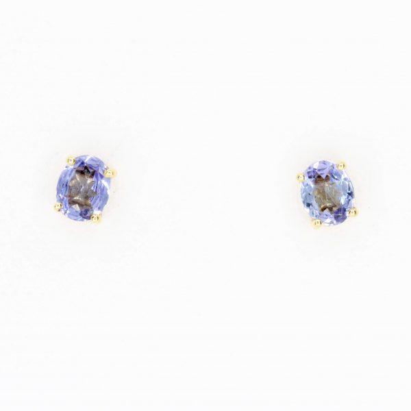 Oval Tanzanite Earrings set in 14ct Yellow Gold