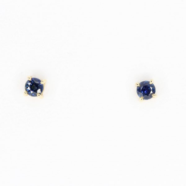 Round Cut Sapphire Earrings set in 18ct Yellow Gold
