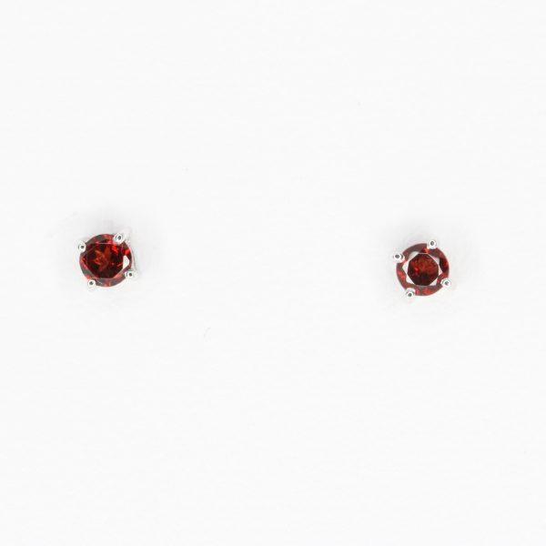 Round Cut Garnet Earrings set in 18ct White Gold