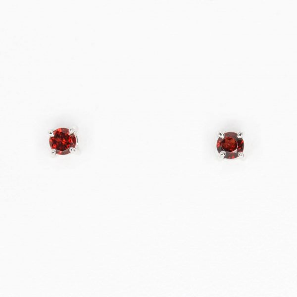 Round Cut Garnet Earrings set in 18ct Yellow Gold