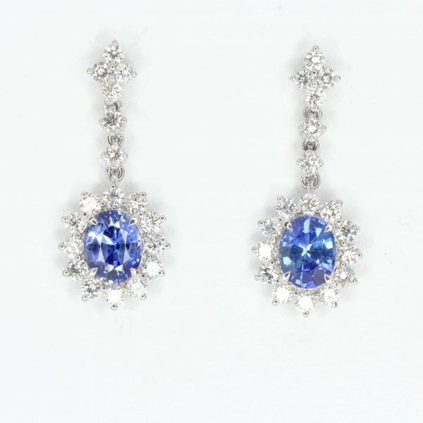 Oval Sapphire Earrings with Halo of Diamond set in 18ct White Gold