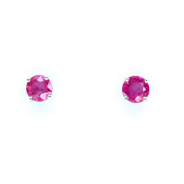 Round Cut Ruby Earrings set in 18ct White Gold