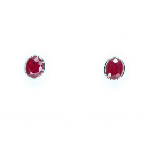 Oval Ruby Earrings set in 18ct White Gold