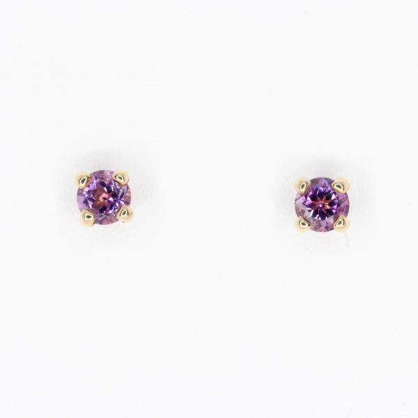 Round Cut Amethyst Earrings Yellow Gold