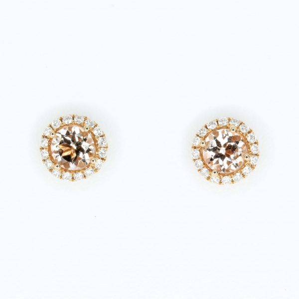 Round Cut Morganite with Diamond Accents set in 18ct Rose Gold
