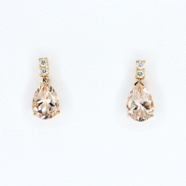Pear Cut Morganite Earrings with Diamonds set in 18ct Rose Gold