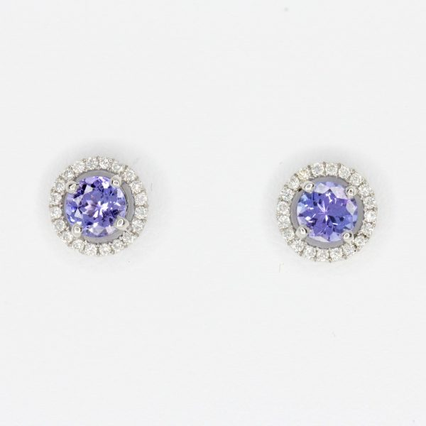 Round Cut Tanzanite with Diamond Accents set in 18ct White Gold