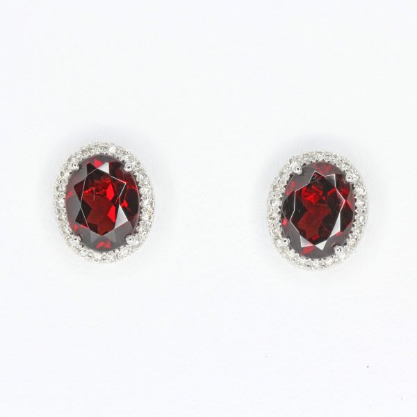 Oval Garnet Earrings with Halo of Diamond set in 18ct White Gold