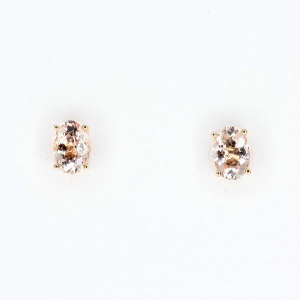 Oval Morganite Earrings set in 18ct Rose Gold