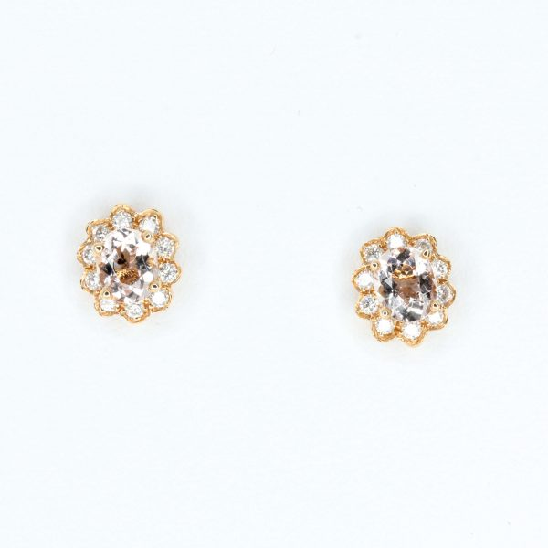 Oval Morganite Earrings with Diamonds set in 18ct Rose Gold