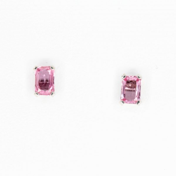 Emerald Cut Pink Sapphire Earrings set in 18ct White Gold