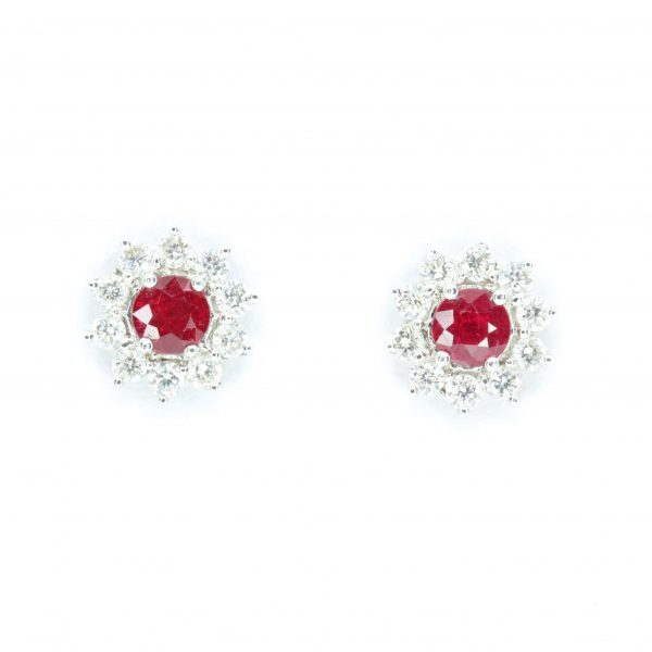 Round Cut Ruby with Diamond Accents set in 18ct White Gold