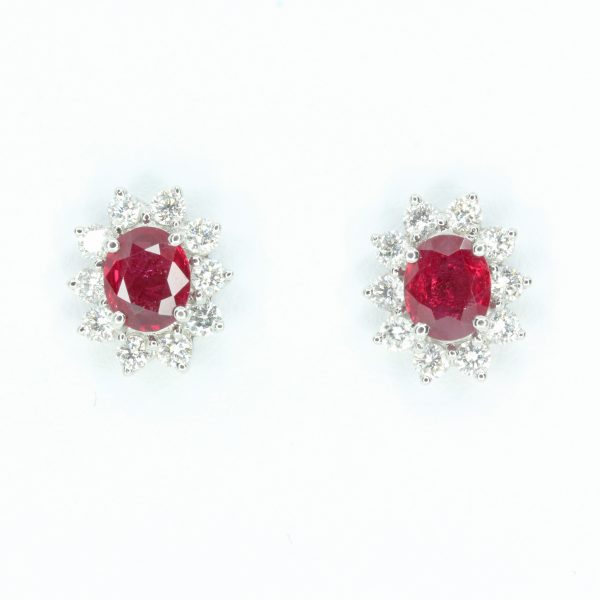 Oval Ruby Earrings with Halo of Diamond