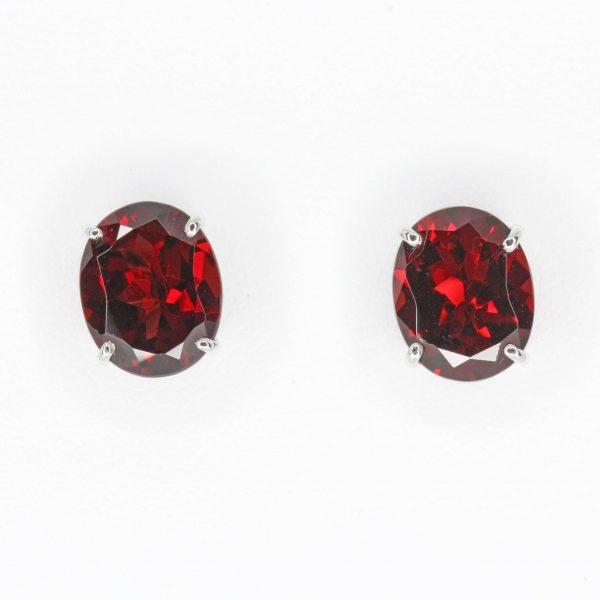 Oval Almandine Garnet Earrings set in 18ct White Gold