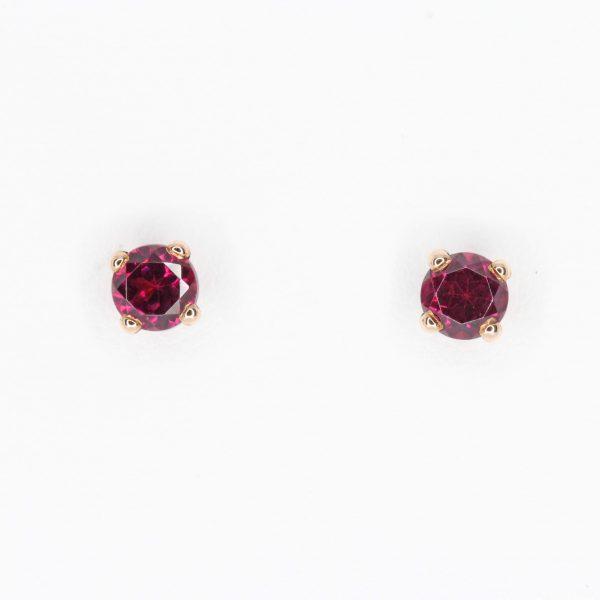 Round Cut Rhodolite Garnet Earrings set in 9ct Rose Gold