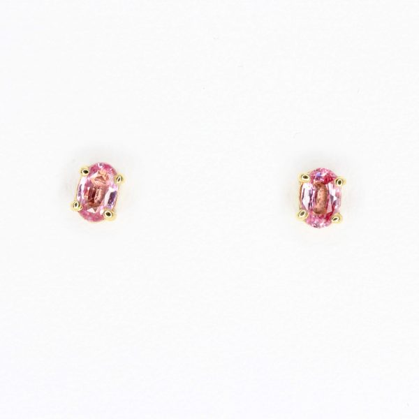 Oval Pink Sapphire Earrings set in 18ct Yellow Gold