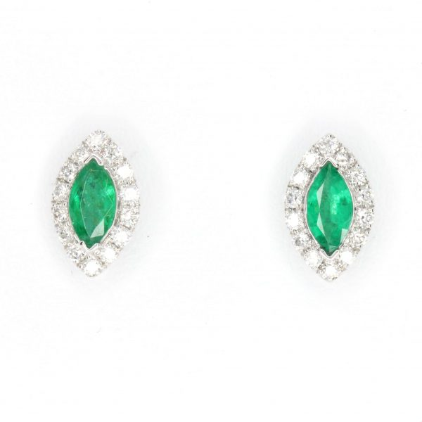 merald Earrings with Diamond set in 18ct White Gold