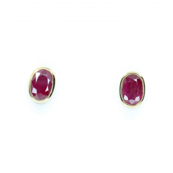 Oval Ruby Earrings set in 9ct Yellow Gold