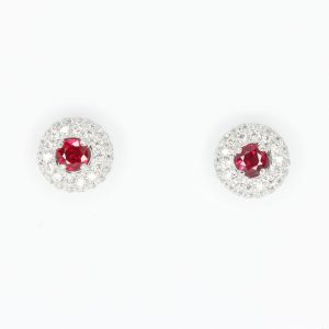 Round Cut Ruby with Diamond Accents
