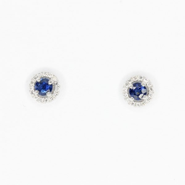 Round Cut Australian Sapphire with Diamond Accents set in 18ct White Gold