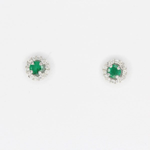Round Cut Emerald with Diamond Accents set in 18ct White Gold