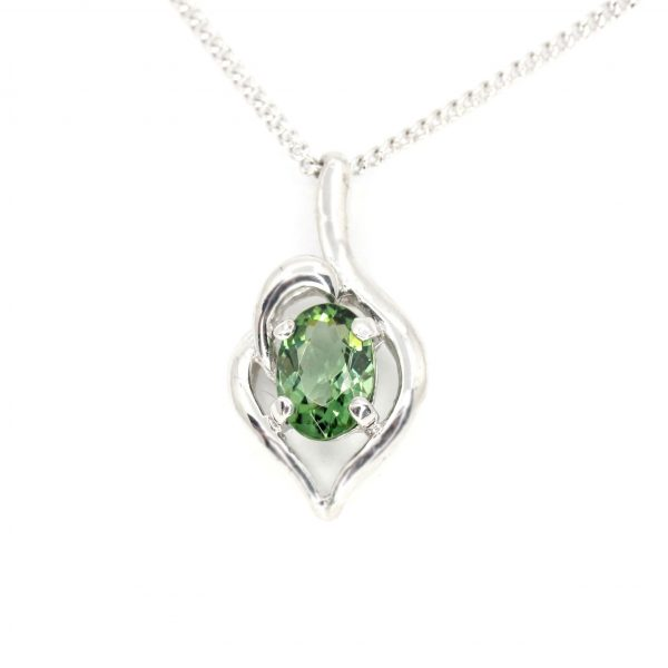 Oval Green Tourmaline Pendant set in 18ct White Gold