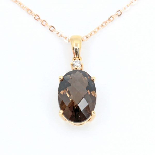 Oval Cut Smokey Quartz Pendant with Diamonds set in 18ct Rose Gold