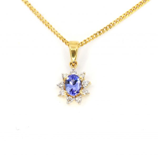 Oval Tanzanite Pendant with Halo of Diamonds set in 18ct Yellow Gold