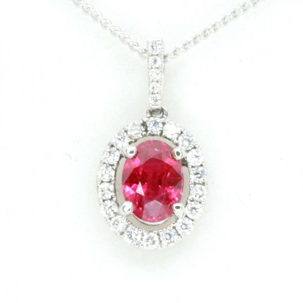 Oval Ruby Pendant with Halo of Diamonds set in 18ct Whte Gold