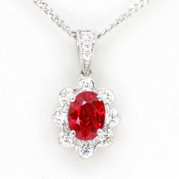 Oval Ruby Pendant with Diamonds set in 18ct White Gold