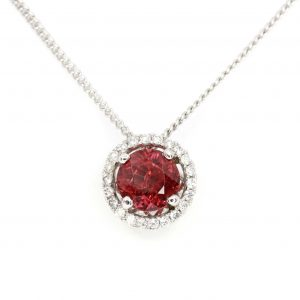 Round Cut Pink Tourmaline Pendant with Diamonds set in 18ct White Gold