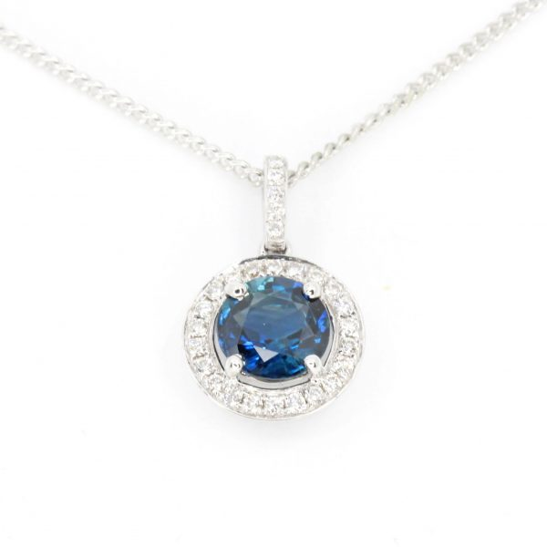 Round Cut Sapphire Pendant with Diamonds set in 18ct White Gold