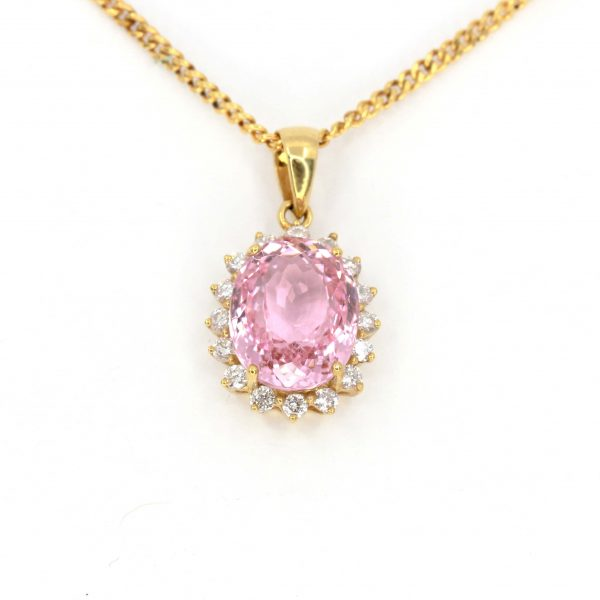 Oval Pink Tourmaline Pendant with Halo of Diamonds set in 18ct Yellow Gold